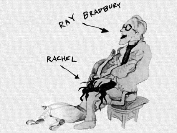 Drawing from the Fuck Me Ray Bradbury video of Rachel fellating Ray.