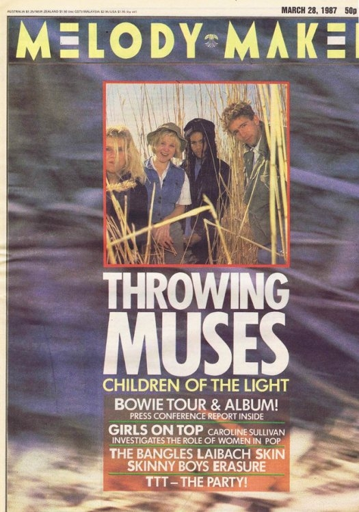 Cover of a March 1987 issue of the Melody Maker music magazine featuring Throwing Muses