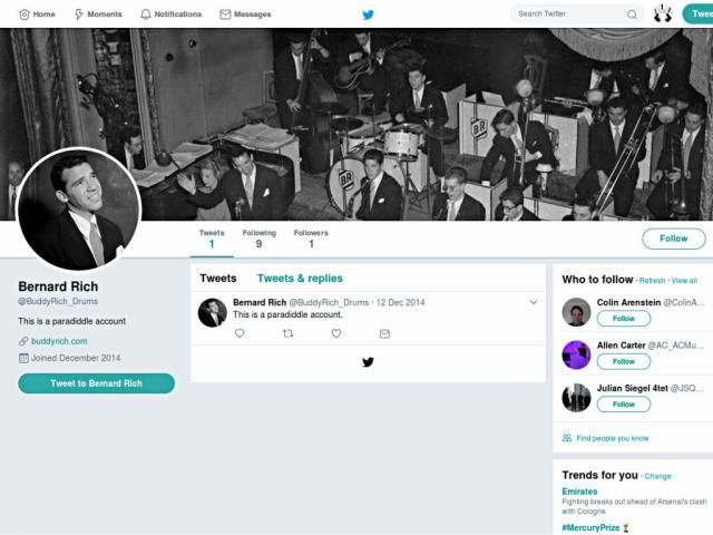 Screen capture of a Twitter page for a Buddy Rich paradiddle account (as opposed to parody).