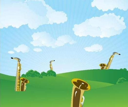 A very bad cartoon of saxophones growing in a field