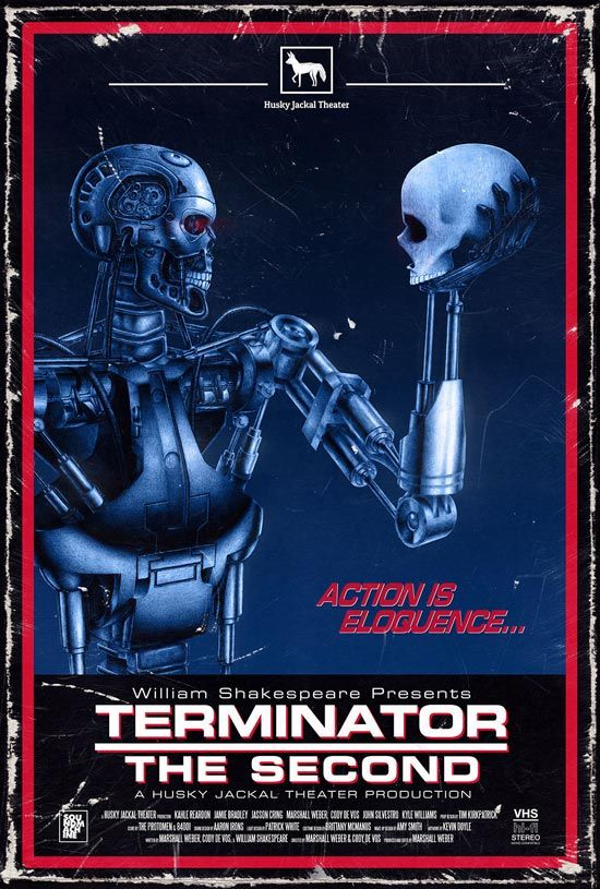 Skeletal form of the Terminator holding a skull much like Hamlet does in the eponymous play.