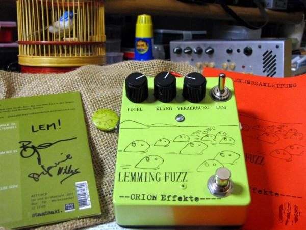 Photograph of the Orion Effekte Lemming Fuzz guitar effects pedal named after an album by, and made in collaboration with, Locas In Love.