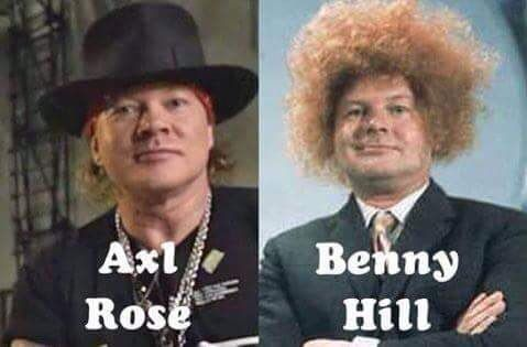 Photographs of Guns & Roses singer Axl Rose and comedian Benny Hill juxtaposed showing them looking remarkably similar in facial appearance