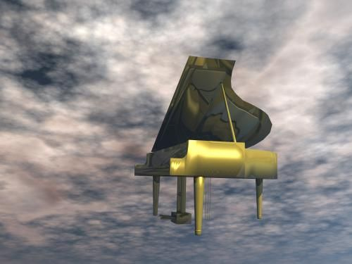 A gold piano in the sky