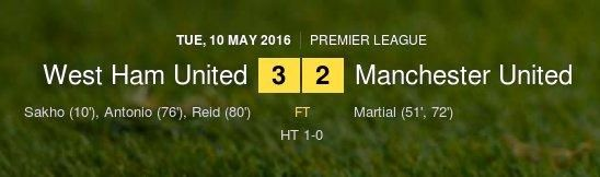 Screen capture of the final score of West Ham United versus Manchester United which the former won 3-2.