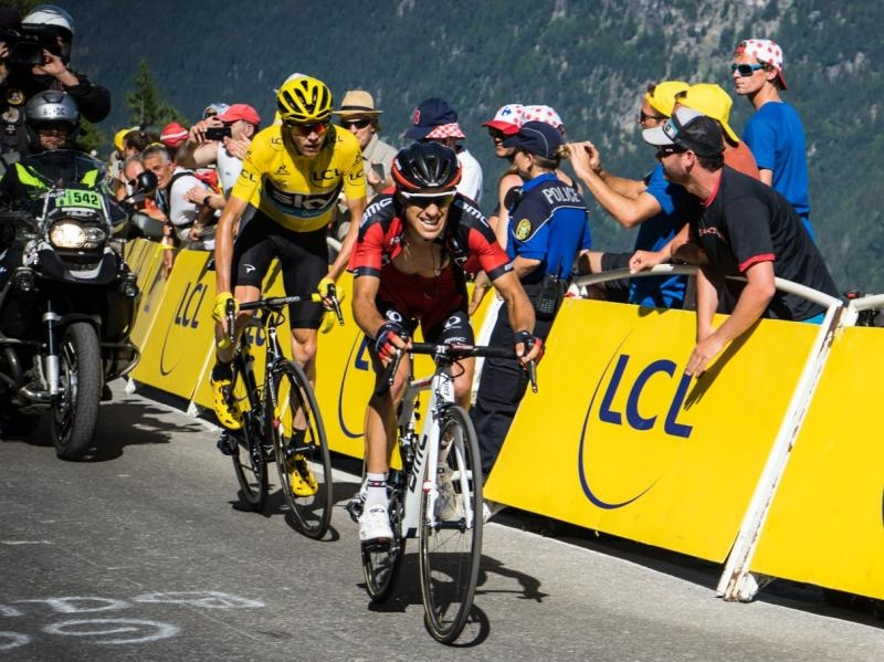 Photograph of Chris Froome and Ritchie Porte taken at the Tour de France by Robert Calin