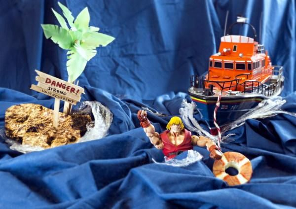 HE-Man used with other toys and models in a RNLI rescue scene.