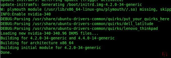 Screen capture of a Linux computer command line during a kernel driver update with the option, 'put your quirks here'.