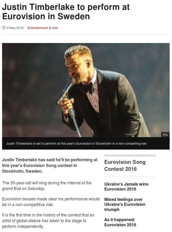 Screen capture from the BBC website of an article about the American Justine Timberlake performing at the 2016 Eurovision constest.