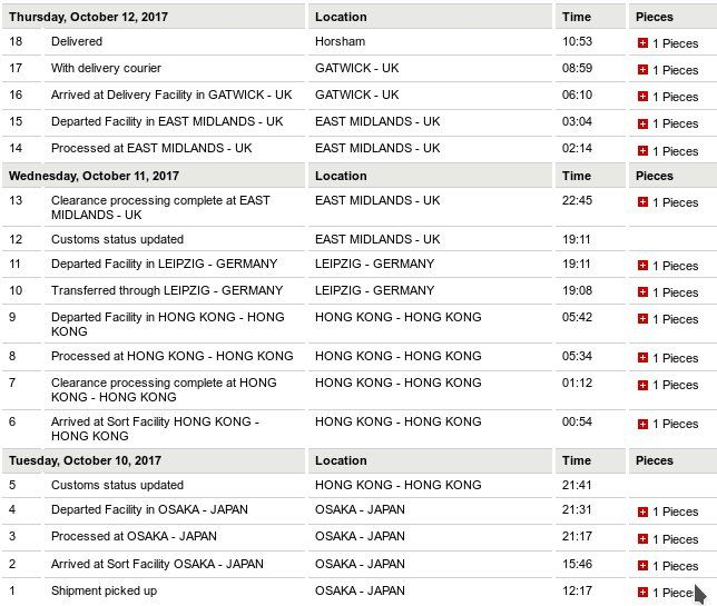 Delivery tracking page showing a package coming from Oska Japan to 'Orsham England in two days.