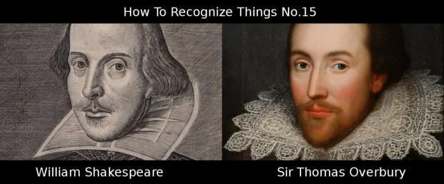 Pictures of Thomas Overbury and William Shakspeare wo don't look very similar