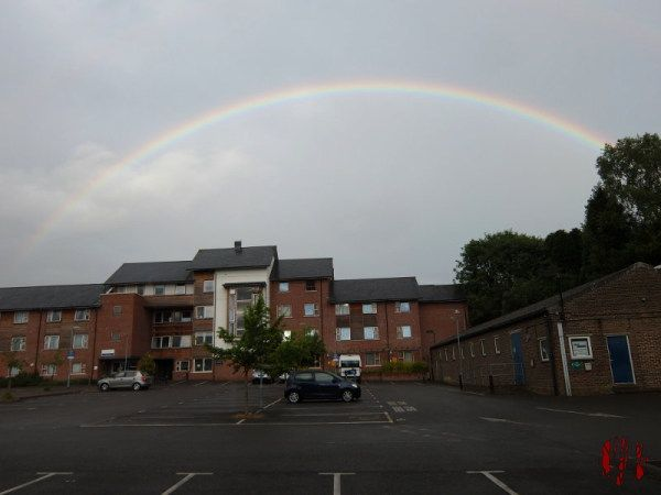A rainbow above Dukes Square behind the Drill Hall Horsham
