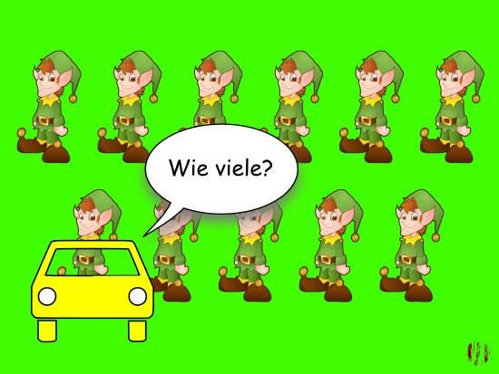 "A cartoon car in front of eleven elves asks, ""Wie viele?""."