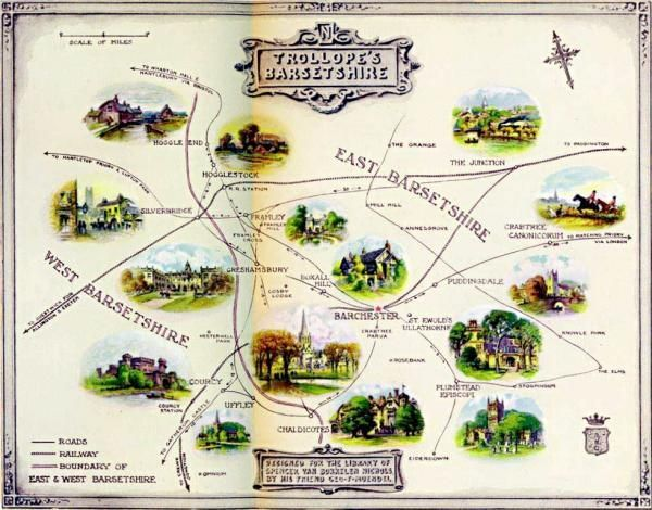 A map of Anthony Trollope's ficitional County of Barsetshire