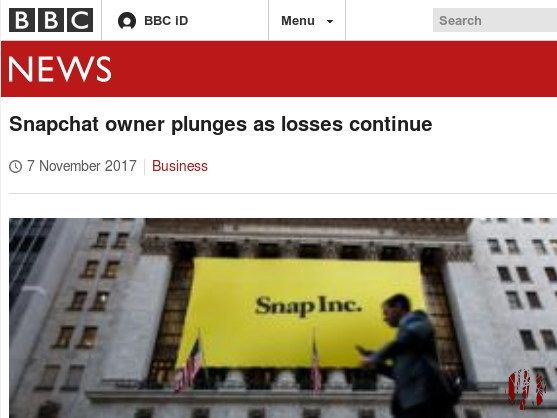 Screen capture of BBC website with headline, 'Snapchat Owner Plunges As Losses Continue'.