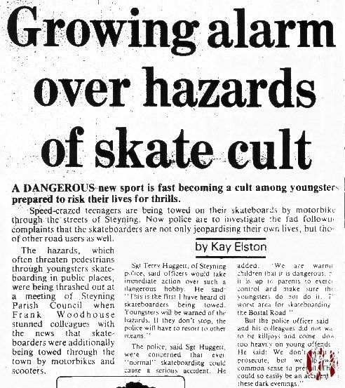 West Sussex Country Times from December 1987 - Skateboarders being towed by cars in Steyning.