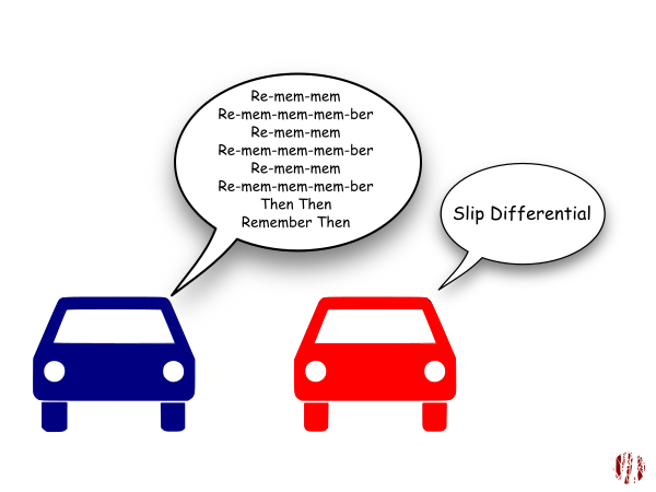 "One cartoon car sings to the other, ""Re-mem-mem, Re-mem-mem-mem-ber Re-mem-mem, Re-mem-mem-mem-ber, Re-mem-mem, Re-mem-mem-mem-ber, Then Then, Remember Then"" to which the other replies, ""Slip differential"". Which will make sense if you've been following along."