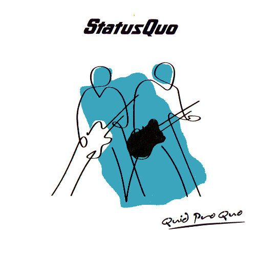 Cover of the Status Quo album Quid Pro Quo which is a minimilist outline drawing of two men with guitars with a blob of colour in the centre on a white background with band and title text.