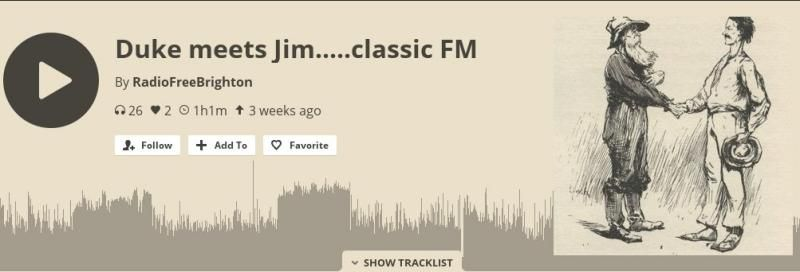 Screenshot of Radio Free Brighton Mixcloud upload of Jim's interview