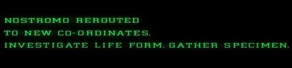 A shot from the film Alien showing a computer screen with text in green on black.
