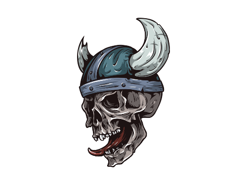 A skull in a Viking helmet with tongue hanging out