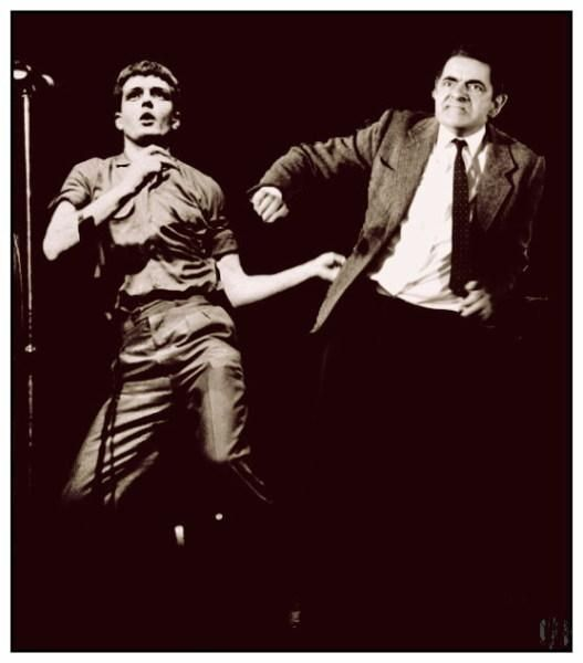 Ian Curtis of Joy Division and Mr Bean forced against all standards of taste into the same photograph