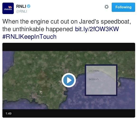 Screen capture of a Tweet by the Royal National Lifeboat Institute trailing a film about a rescue including the phrase, 'and then the unthinkable happened'.