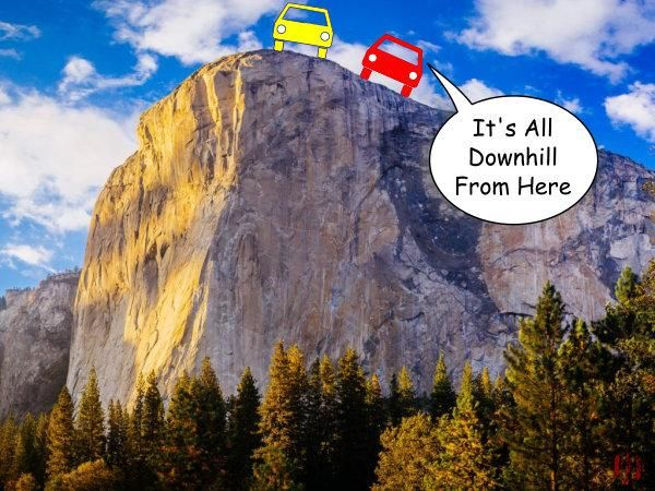 "A cartoon car says to another whilst stopped at the cliff's edge, ""It's all downhill from here""."