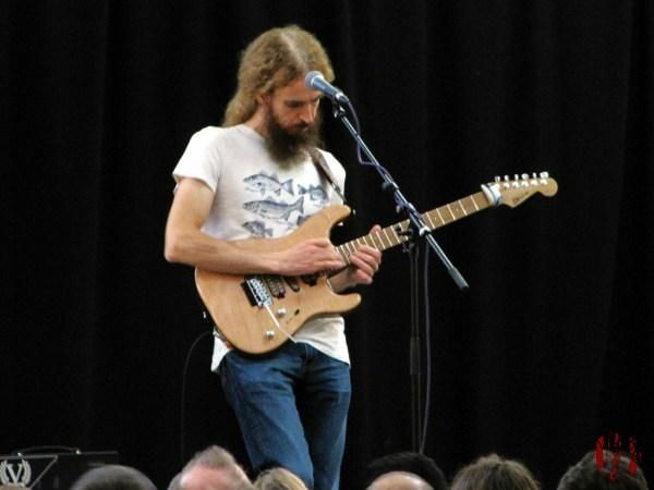 Guthrie Govan playing guitar during a masterclass at the Drill Hall Horsham
