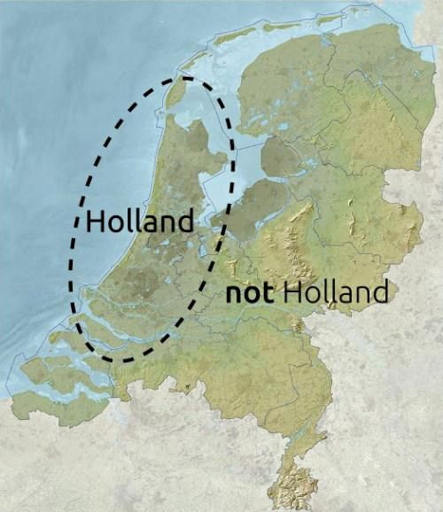 A map of the Netherlands with two areas marked: Holland and Not Holland.