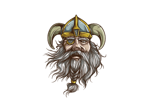 The drawn head of a Viking with only one eye