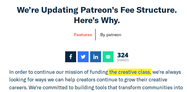 Screen capture of a Patreon blog post which mentions 'the creative class'.