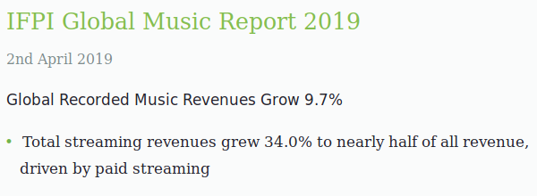 Screen capture from a music industry report showing a 9.7% rise in sales with streaming up 34% making it worth a half of all sales.
