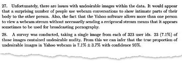 An excerpt from a report mentioning that a surprisingly large number,about 7%, of people used Yahoo Chat to share images of a private nature.