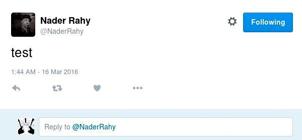 Screen capture of a tweet by Nader Rahy of just the word 'test'.