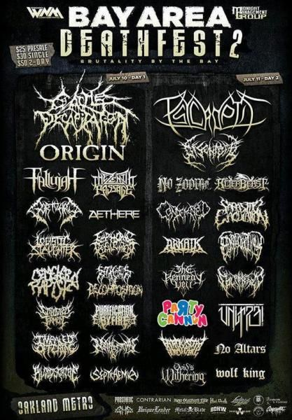 Poster for the Bay Area Metalfest with a page of band names almost entirely in evil looking scrawling ominous typefaces except of Party Cannon which is written in jolly round letters in multiple bright colours.