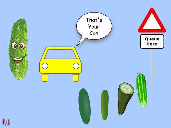 "A cartoon car outside cartoon car near a 'Queue Here' sign with several vegetables behind it says to a cucumber, ""That's Your Cue""."