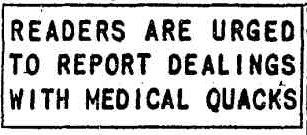 A 1949 newspaper cutting from the Chicago Tribune encouraging readers to report all dealings with medical quacks.