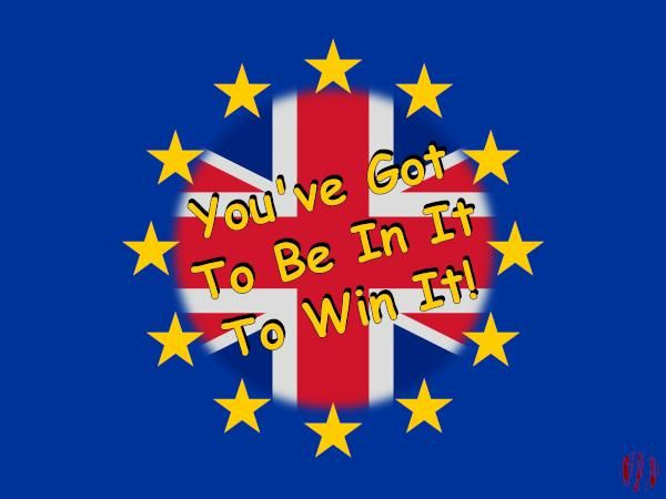 The gold stars on dark blue background of the flag of the European Union with the addition of a Union Jack in its centre and the text 'You've Got To Be In It To Win It'.
