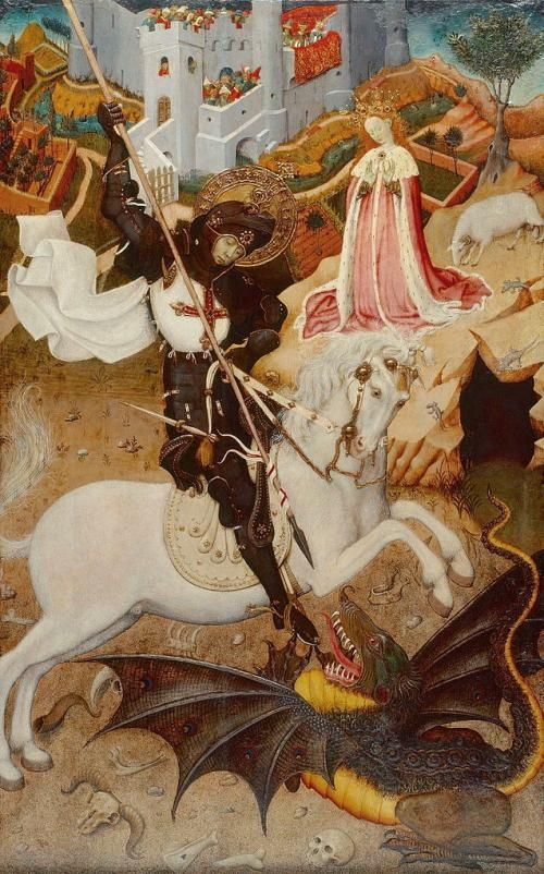 Painting by Bernat Martorell of St. George killing a dragon, the bastard.